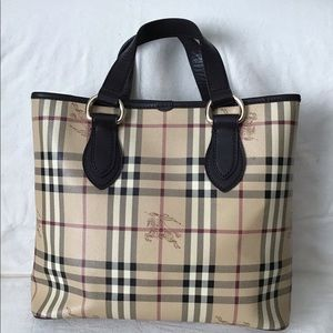 BURBERRY Haymarket Check PVC/Leather Tote